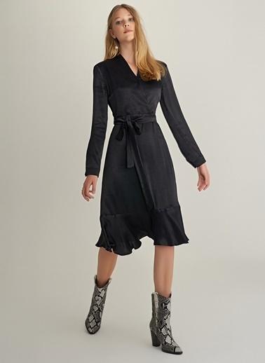 NGSTYLE Saten Kruvaze Elbise Siyah